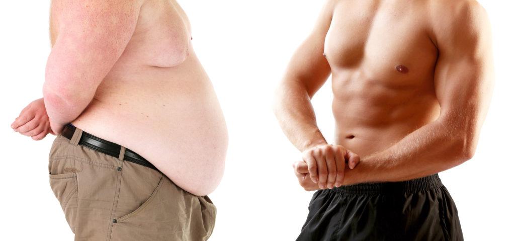 overgewicht en ongezond versus getraind en gezond